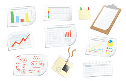 Objects and documents for business. Graphics chart patterns and items for business Stock Illustration
