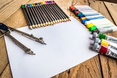Objects for drawing and painting, crayons, tempera, crayons, compass Royalty Free Stock Image