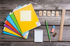 Objects for education, school supplies, office Stock Image