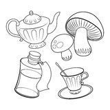 Objects from fairy tale coloring book vector Stock Photo