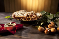 Objects and food for christmas celebration Royalty Free Stock Photography