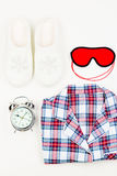 Objects For A Good Sleep Close-up View From Above Royalty Free Stock Photography