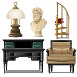 Objects and furniture vintage interior isolated on white background. Vector illustration. royalty free illustration