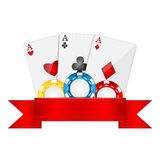 Objects for gambling. Playing cards and casino chips isolated on white background.objects for gambling.Items for poker Stock Images