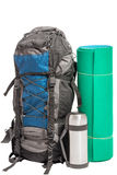 Objects gathered for the expedition, photo on the white Royalty Free Stock Photo