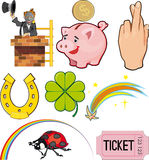 Objects of Good Luck. Magical objects and objects of good Luck. Icon set Royalty Free Stock Photography