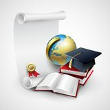 Objects for graduation ceremony. Vector Royalty Free Stock Images