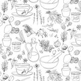 Objects and herbs to treat colds in pattern. Objects and herbs to treat colds Royalty Free Stock Photos