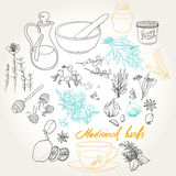 Objects and herbs to treat colds. Set of objects and herbs to treat colds Stock Images