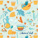 Objects and herbs to treat colds Stock Image