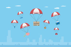 Objects with insurance parachute, insurance and business concept Royalty Free Stock Photo
