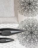 Objects for Interior Knitted Blankets, Pillows, Wallpaper, Vase Royalty Free Stock Photo