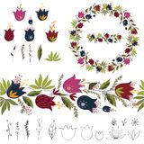 Objects flowers on white background. vector illustration