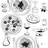 Objects on italian food theme: pizza, pasta, tomato, Royalty Free Stock Photos