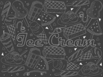 Objects of linear art piece of chalk. Theme of public catering, summer vacation, a set of various ice-cream Raster vector illustration