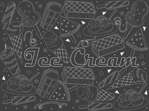 Objects of linear art piece of chalk. Theme of public catering, summer vacation, a set of various ice-cream Vector. Illustration vector illustration