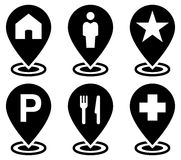 Objects on map icons set. Vector map markers with following symbols: home, man, star, parking, food, hospital stock illustration