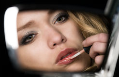 Objects in the mirror are closer than they appear Royalty Free Stock Images