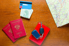 Objects needed to autotravel on the table Stock Images