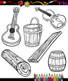Objects oartoon set for coloring book Royalty Free Stock Images