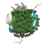 Objects of oil production on small planet. Objects of oil production and processing on a small planet Stock Image
