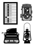Objects old retro vintage icon stock vector illustration Royalty Free Stock Photography