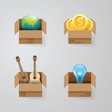 Objects in open box vector set design concept.illustration Stock Photos