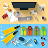 Objects that people use in everyday life and during rest Royalty Free Stock Photo