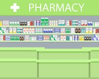 Objects of a pharmacy interior. There is a signboard and shelves with medicines in the picture. Vector illustration Stock Photos