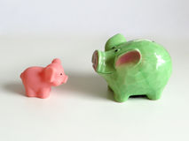 Objects. Piggy bank and pig toy that look at each other as the concept of innocence and materialism in comparison Royalty Free Stock Photography