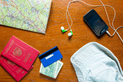 Objects prepared for travel Stock Image