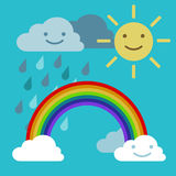 Objects rainbow iris arch, sun and rainclouds vector. Arc rainbow vector Sun and rain cloud funny smiling Royalty Free Stock Images