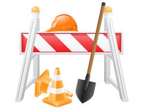 Objects for road works vector illustration Stock Photo