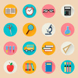 Objects for school. Back to study. Set of round flat icons. Royalty Free Stock Photo