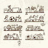 Objects for school on shelves, sketch drawing Stock Photos