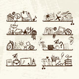 Objects for school on shelves, sketch drawing Stock Images