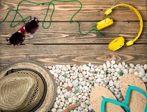 Objects with sea shells and stones Royalty Free Stock Images