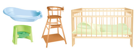 Objects set of children's room interior Royalty Free Stock Image