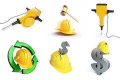 Objects set helmet industry worker Stock Image