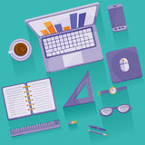 Objects. Set of office supplies. Flat infographic Royalty Free Stock Photos