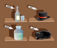 Objects on shelves Stock Image