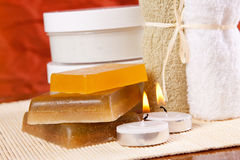 Objects for spa. Set of objects for spa treatments - soaps, towels and moisturizer Stock Image