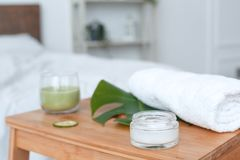 Objects for spa at home isolated on table cream close-up stock images