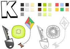 Objects spelled with letter K drawing template for children Royalty Free Stock Photography
