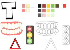 Objects spelled with letter T drawing template for children. Teaching material and drawing template for children. Objects spelled with letter T are teeth Stock Photos