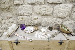 Objects for spells and witchcraft. Detail of a table for witchcraft Stock Photography