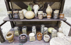 Objects for spells and witchcraft. Detail of a table for witchcraft Royalty Free Stock Photo