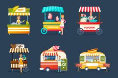 Objects street trading. Vendors behind counters with drinks, food, sweets. Set of objects street trading. Vendors celler behind counters with drinks, food vector illustration