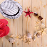 Objects for summer vacation at sea stock photo