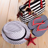 Objects for summer vacation at sea Royalty Free Stock Photos